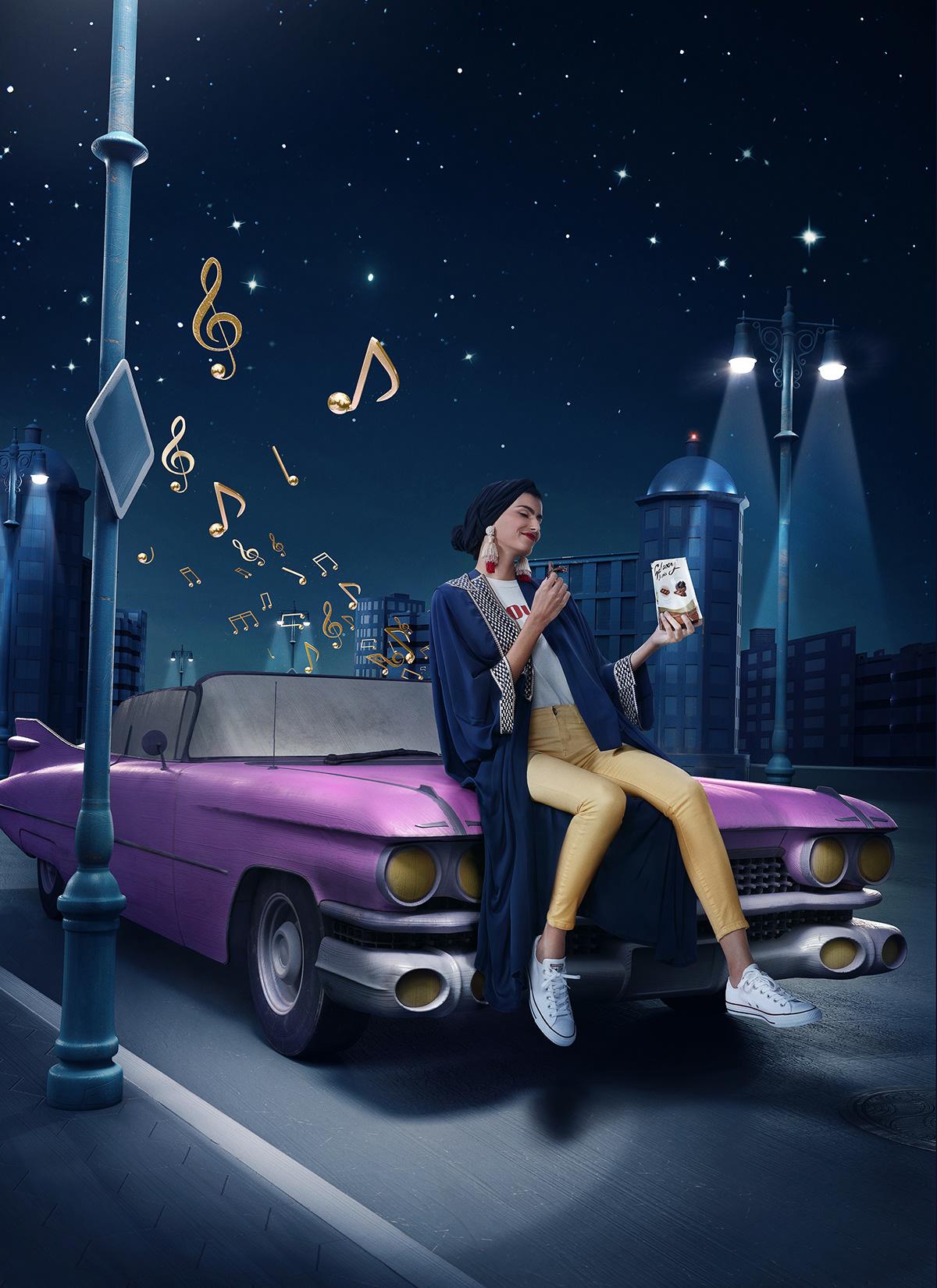 3D Advertising  art direction  CGI galaxy Minis Photography