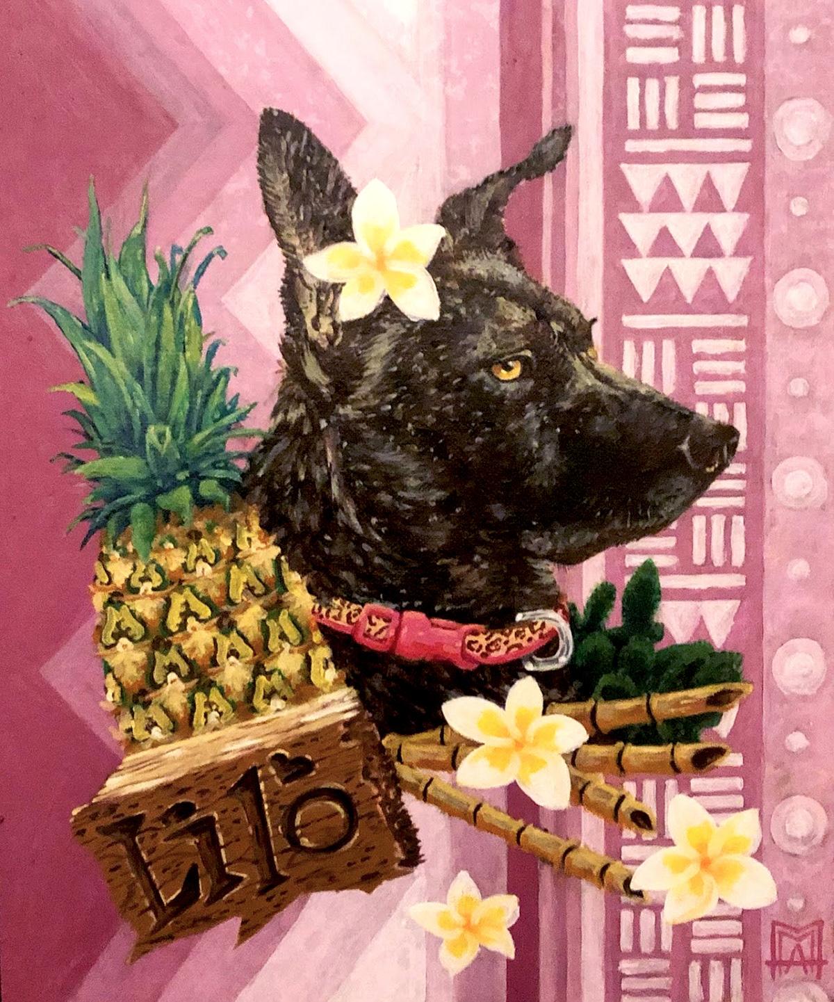 commission design dog Dog painting Hawaiian ILLUSTRATION  Oil Painting Pet Portrait pink TRADITIONAL ART