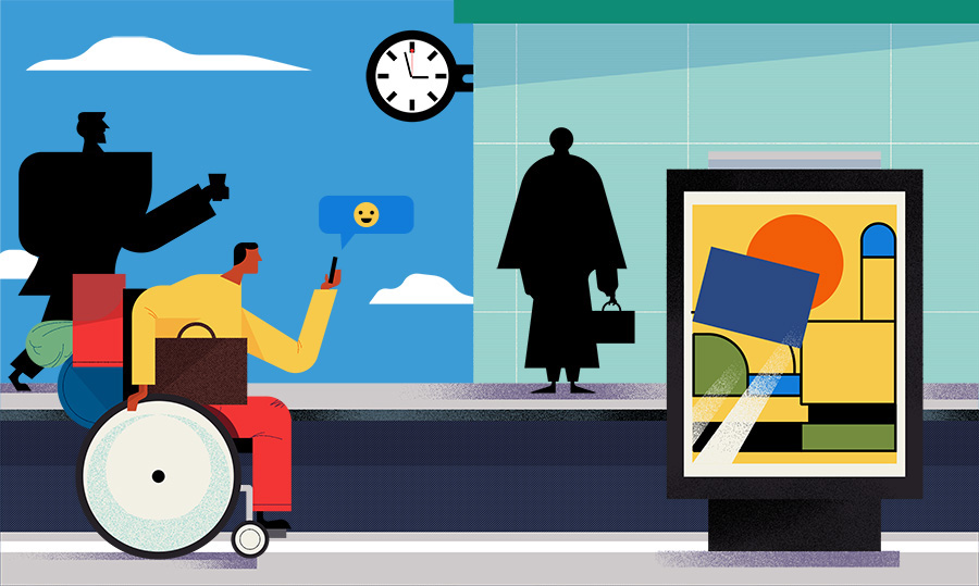 adam avery illustration the guardian university guide man in wheelchair waiting for train