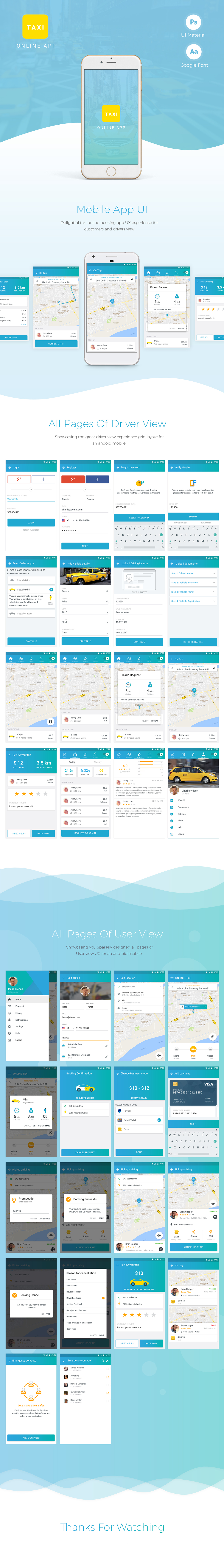 Online Taxi Booking - App Design on Student Show