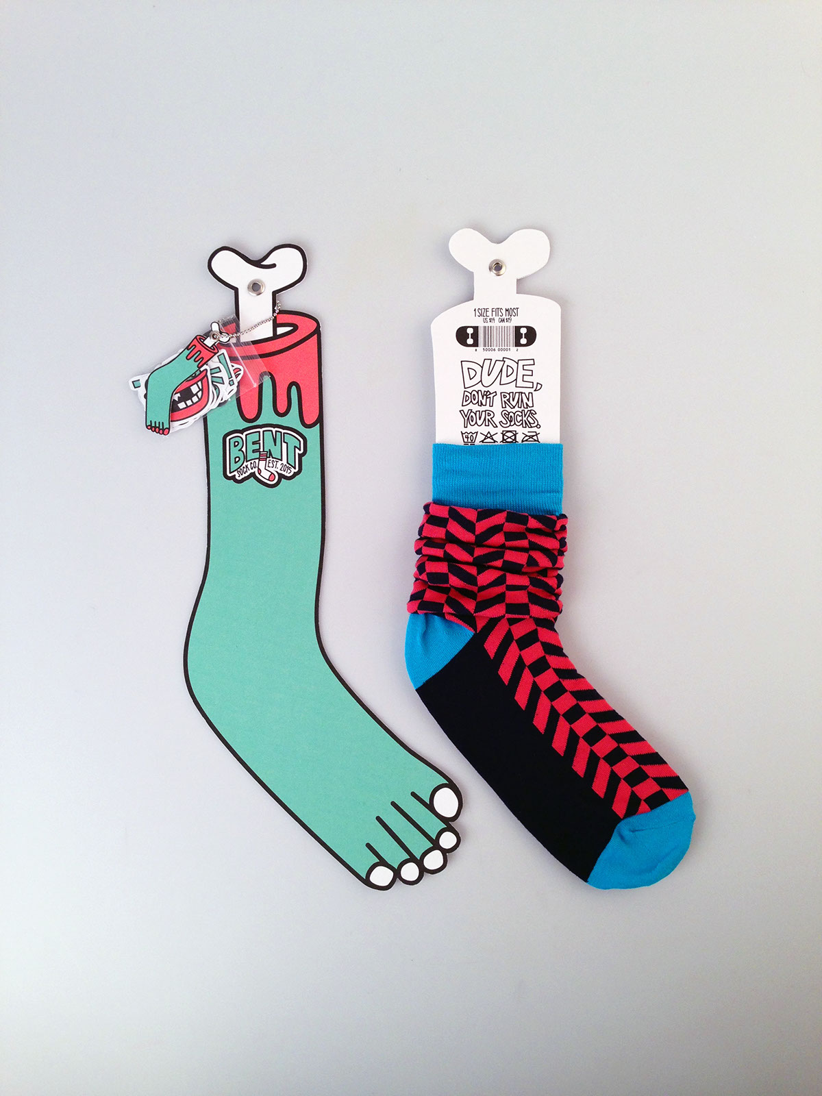 bent sock co illustrated sock packaging on behance