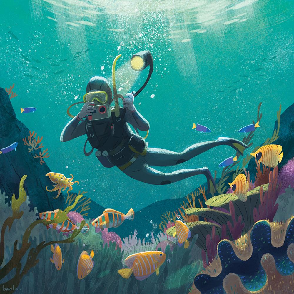 Ocean fish diver sea life vacation RoadTrip Volkswagen van forest astronaut Space