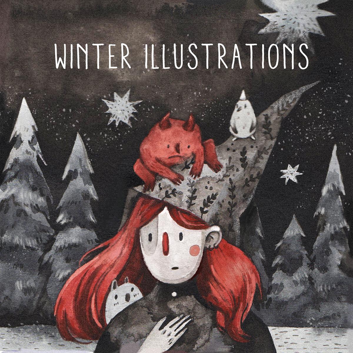 winter ink watercolor Black&white