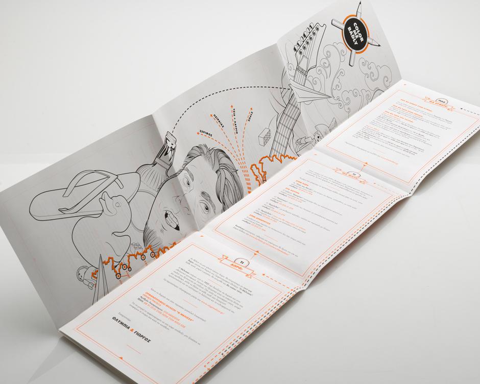 wedding invitation kythnos Greece poster silkscreen offset coloring book