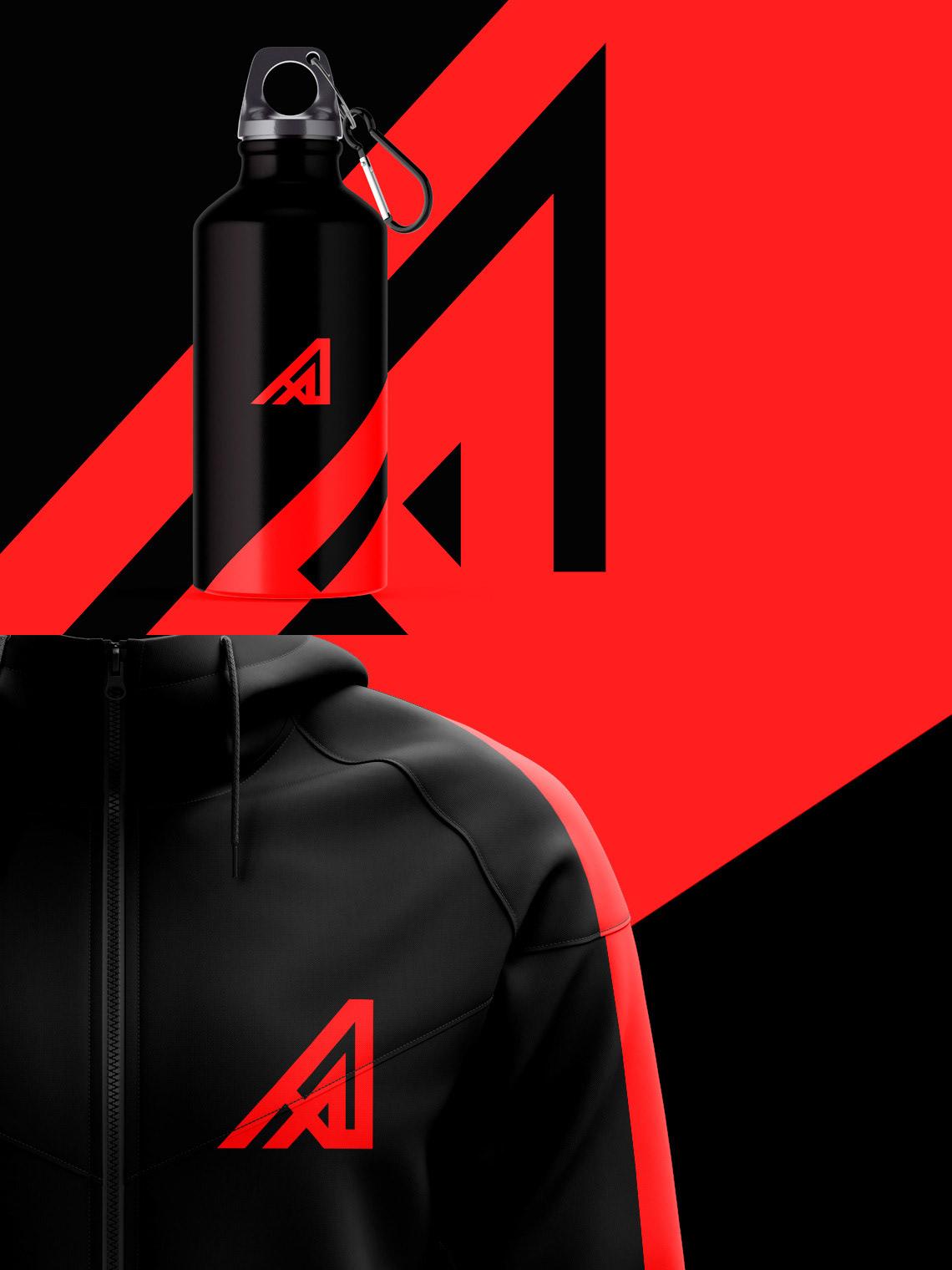 brands Logotype sport logo sports branding  Minimalism black identity gym