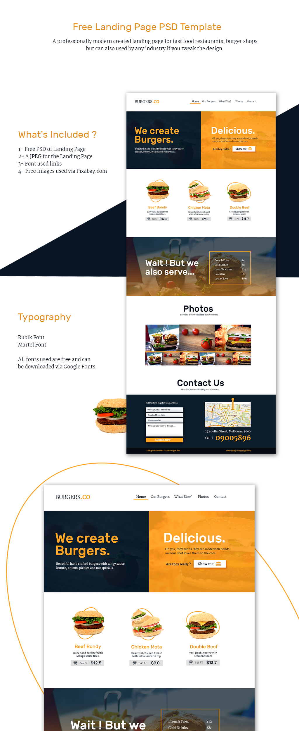 Free Landing Page Template Restaurant And Fast Food On Behance