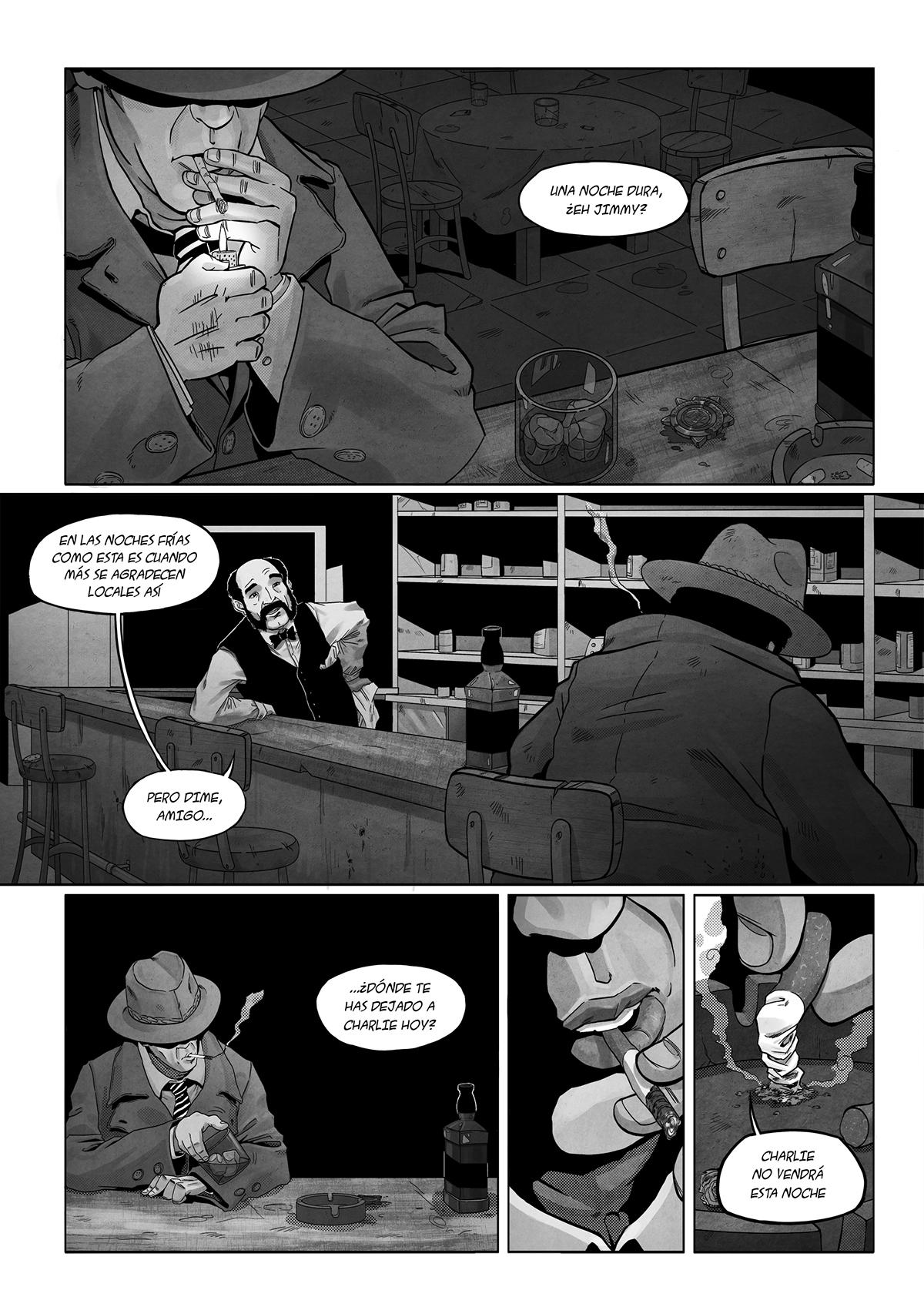 comic noir ilustration Character design  composition