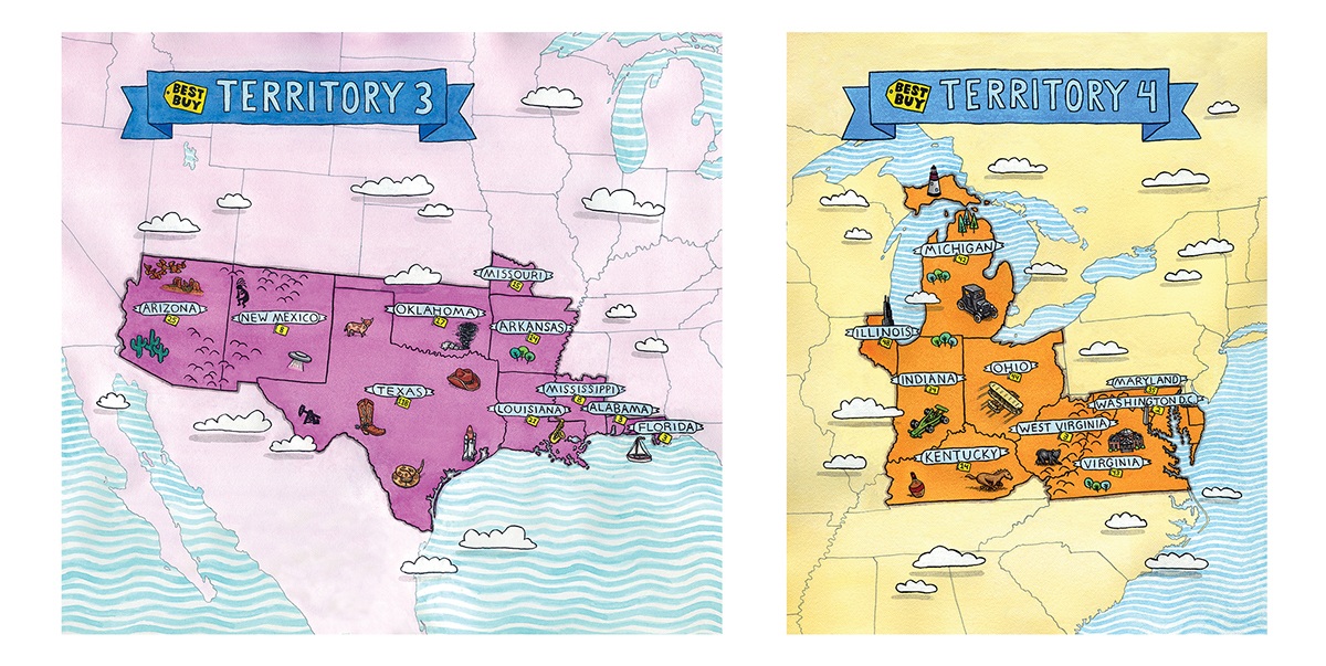 Six Illustrated Territory Maps for Best Buy on Behance