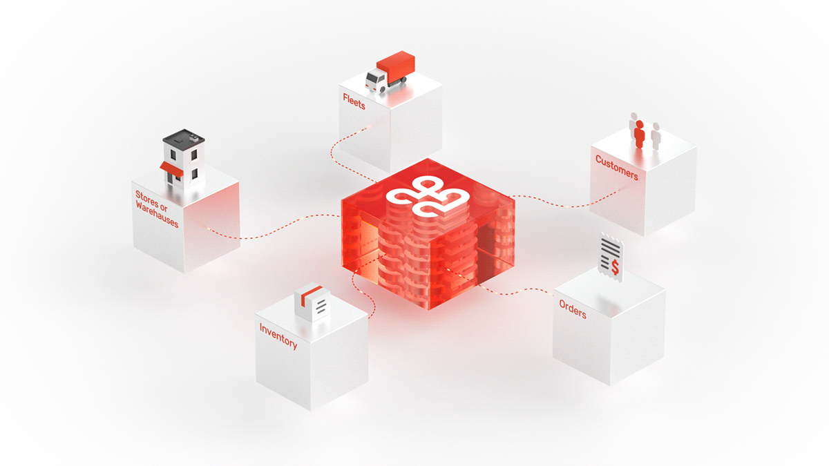 city high-tech minimal octane red White cubes glass Isometric Web