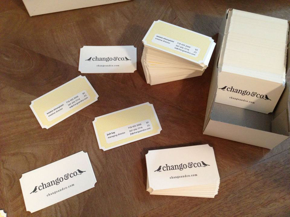 Letterpressed Business Card design for Chango & Co Interior Design