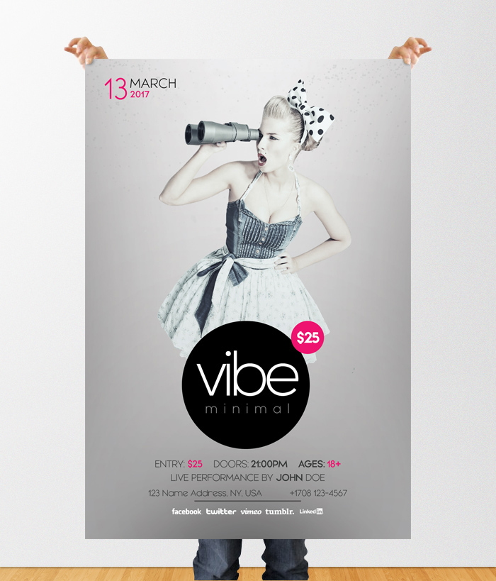 vibe minimal download free psd flyer template on behance