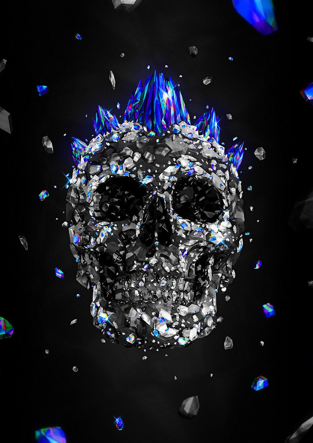 diamond  glow neon nice portrait poster rainbow shine skull vector