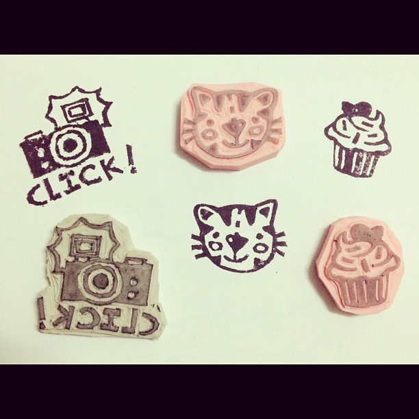 Hand carved rubber and eraser stamps on behance