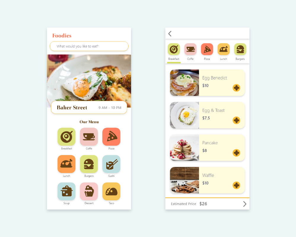 AdobeXDUIKit,Mobile UI,Mobile UX,order page,Restaurant Icon,food delivery,Mobile app