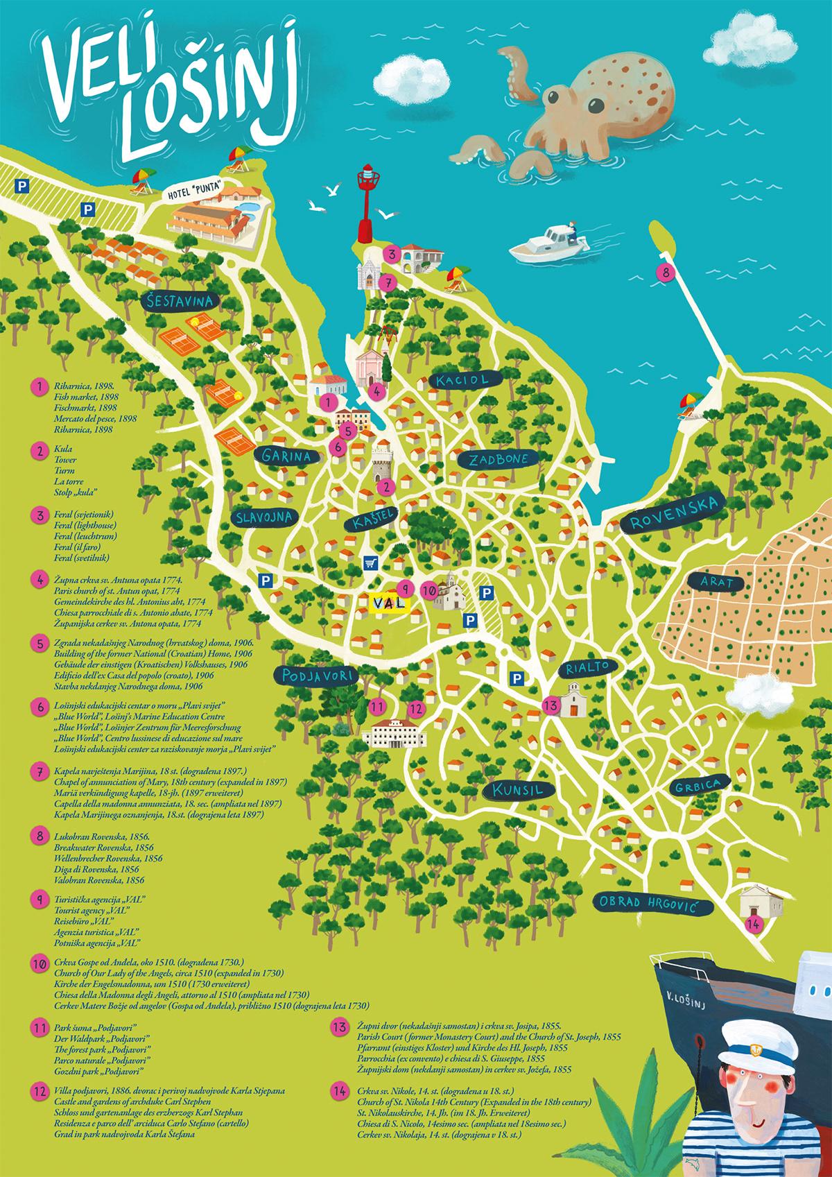 map Plan brochure streets city map sea panorama tourist map