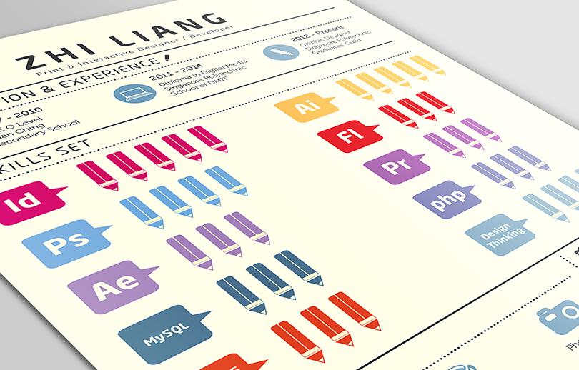 Resume CV portfolio infographic pencils infographic resume self branding Self Promotion Graphic Designer