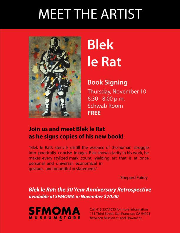 SFMOMA blek le rat book signing Illustrator flyer