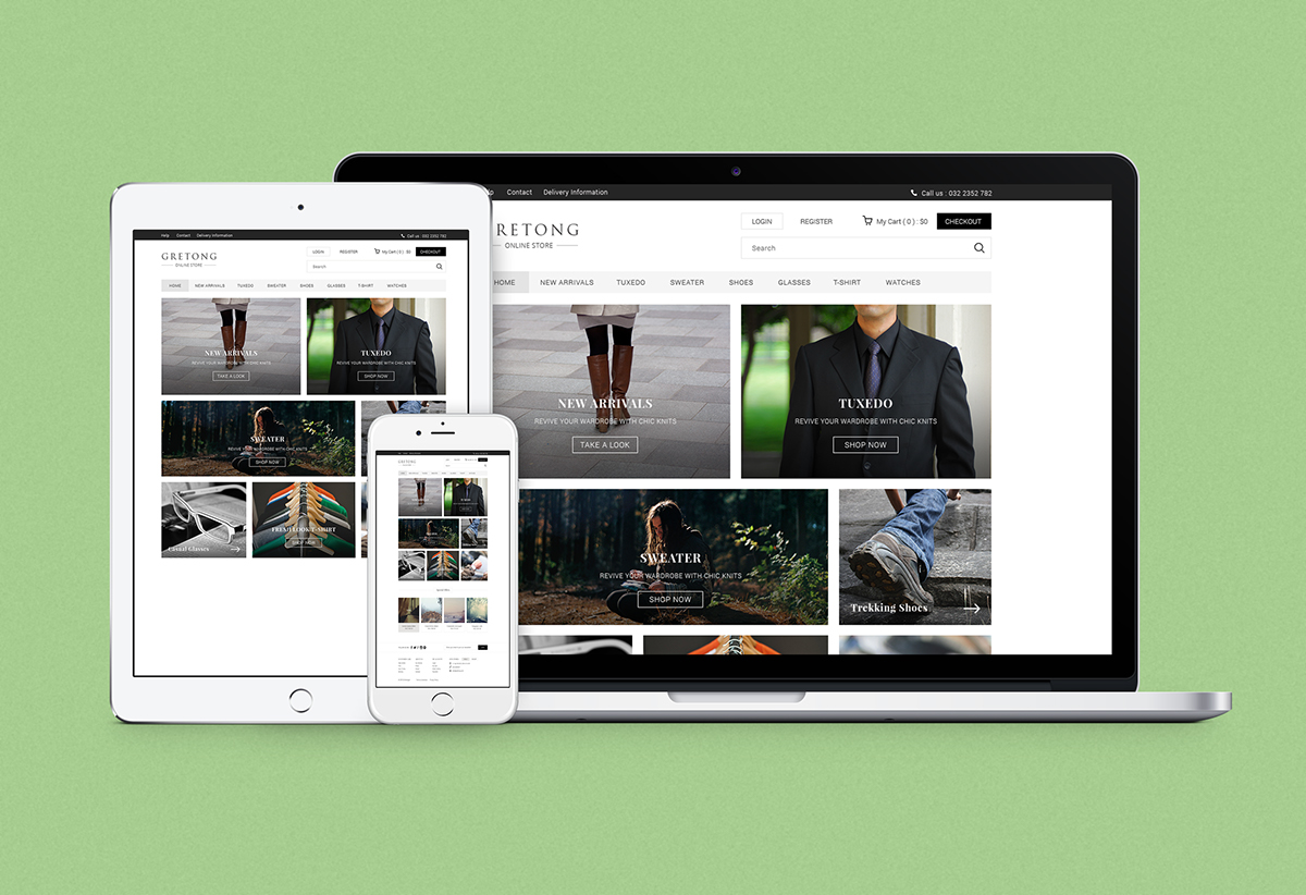 Free Gretong E Commerce Html5 Template On Student Show