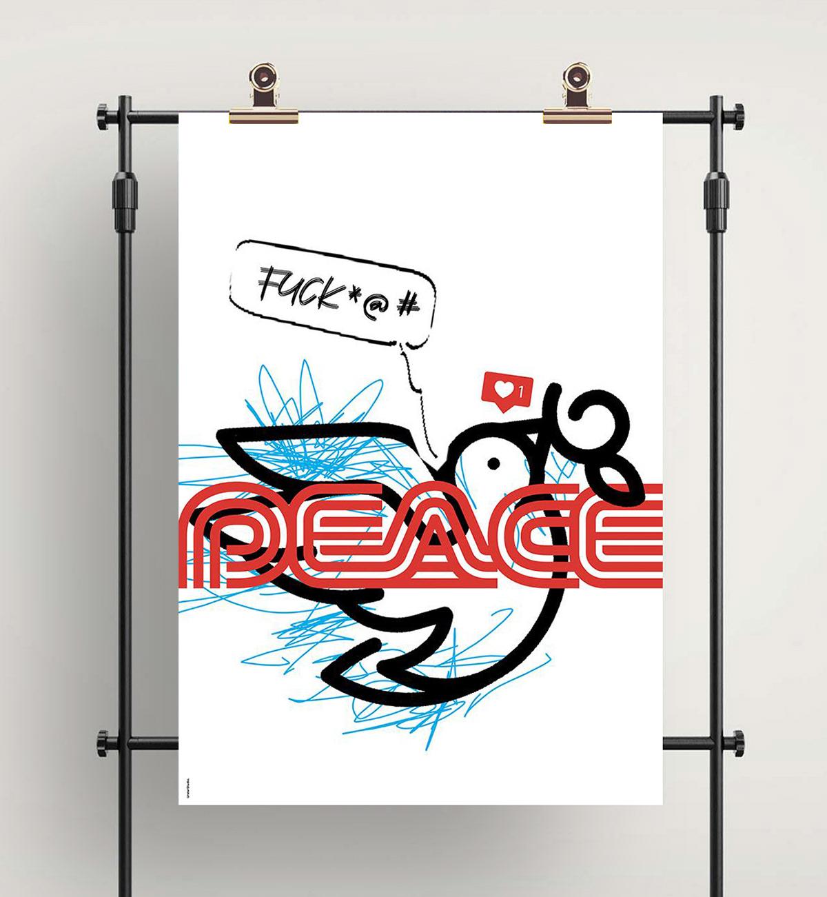 peace Francesco Mazzenga colomba Exhibition  ILLUSTRATION  illustrazione design poster