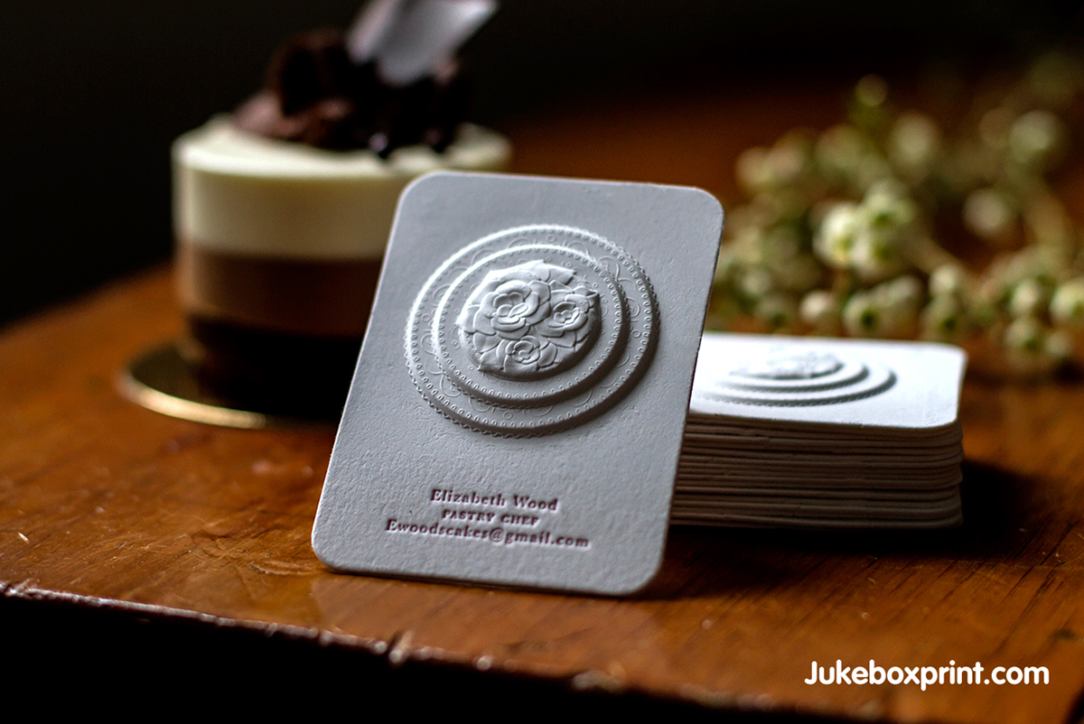 3d embossed business cards with letterpress on behance this decadent cotton business card is created for a high end pastry chef beautifully thick cotton paper is embossed in four different levels to add reheart Gallery