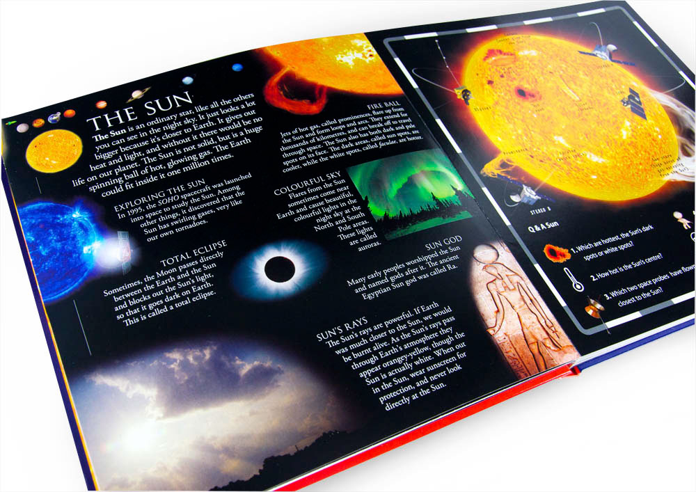 Interior spread about the sun from DK pop up space book designed by Fiona Gowen
