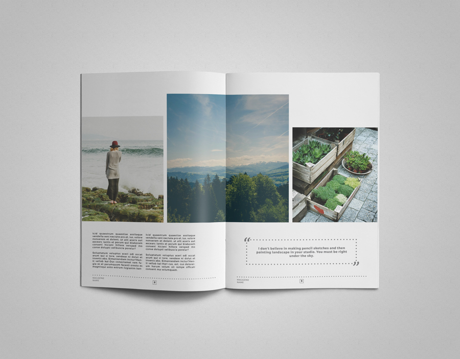 InDesign magazine template Multipurpose clean simple minimal a4 letter magazine clean layout
