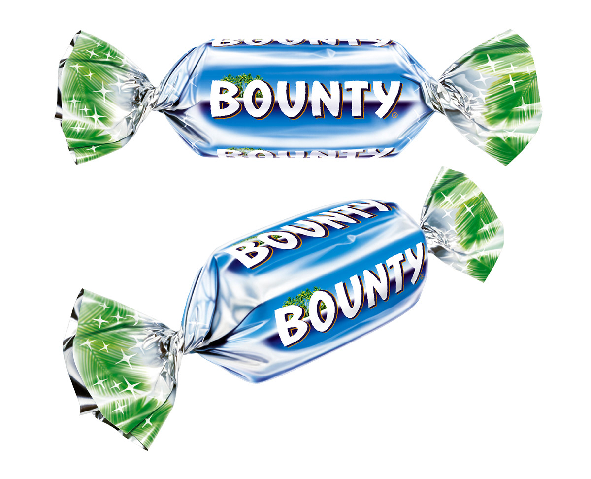 Photo realistic illustrations of Celebrations Bounty miniture chocolates for product packaging