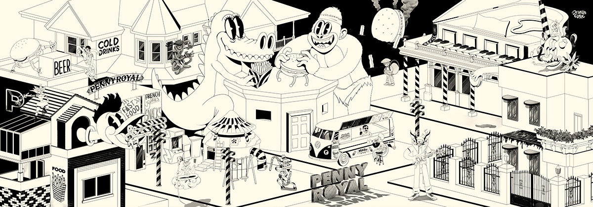 Old cartoon,mcbess,burger,Fast food,city,black and white,Classic,music,Retro,Urban