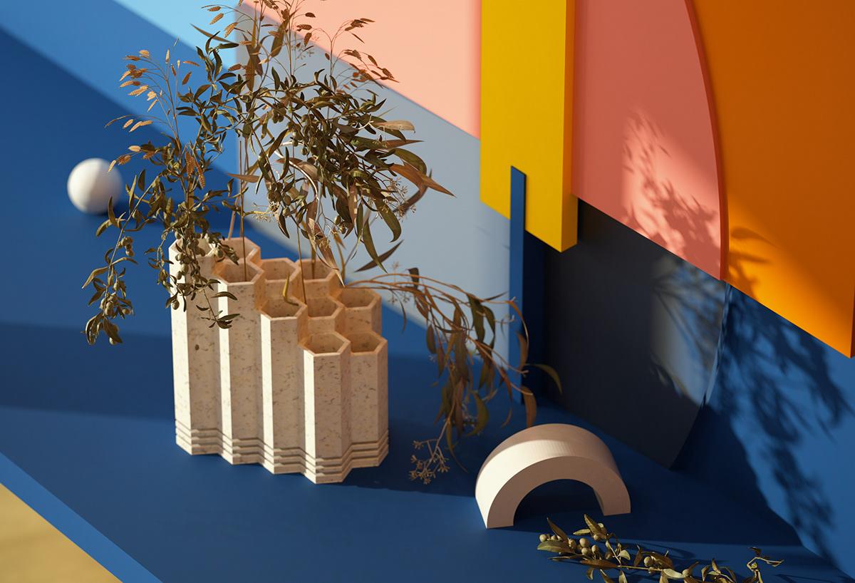 3D colors design FStorm Render Minimalism presentation design productdesign showroom Vase visualisation