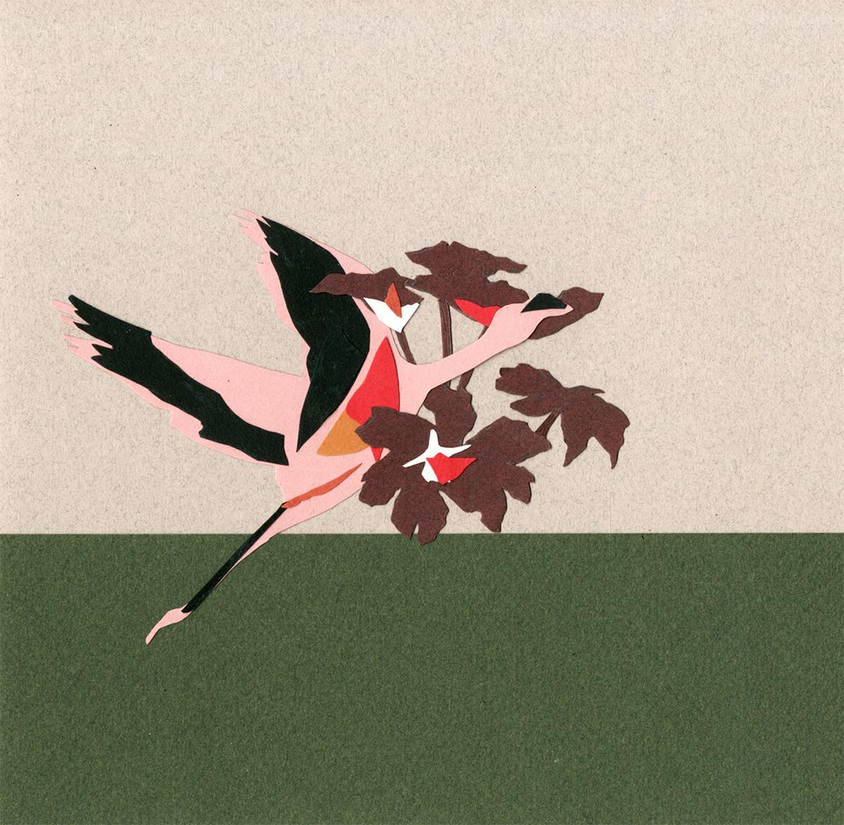 flamingos animal cutout colors