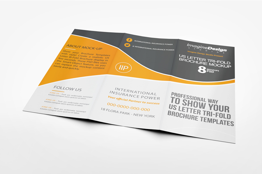 us letter tri fold brochure mockup on behance