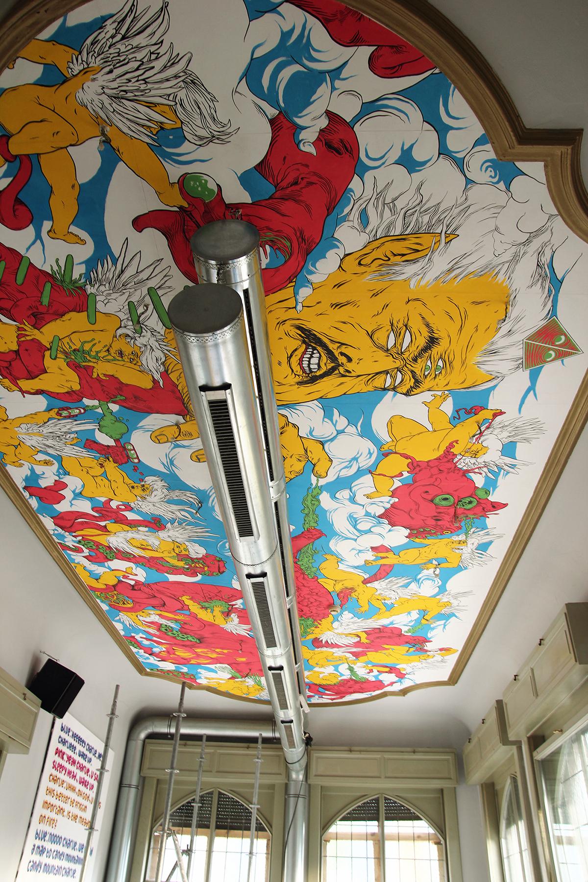 angels alien God fight battle heaven boss lazer furniture cats ninja cafe bar pub ceiling