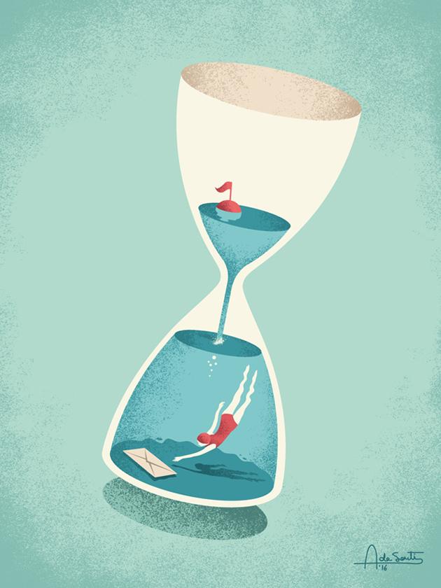 editorial hourglass book Waze time saving app Redbook magazine water diver cloud way mobile phone