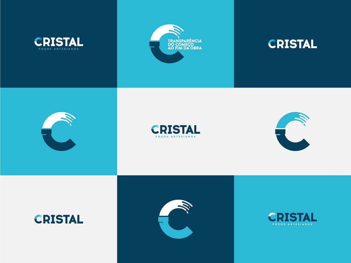 logo water brand industry Icon minimalist pipes circle identity Mockup