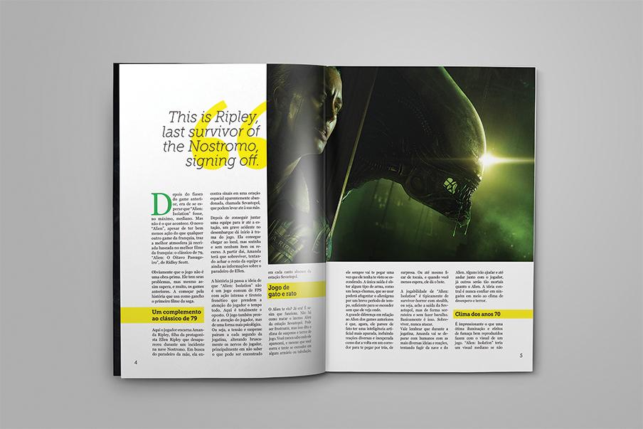 Videogames Games magazine design alien isolation crossing Xing crossing magazine xing magazine Bayonetta 2 The Evil Within game magazine games magazine diagramation logo