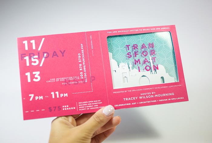 invite event invite Invitation Popup pop up 3D invite invitation design type magenta aqua pattern city Diecut perforated custom printing