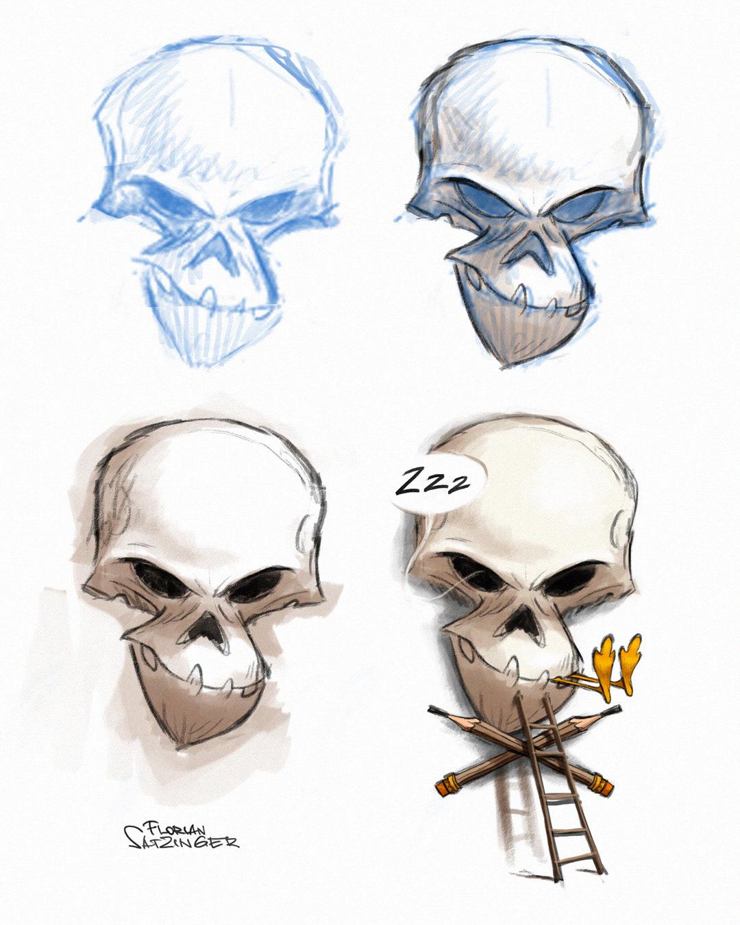 animation design Character design  drawing process Skull art