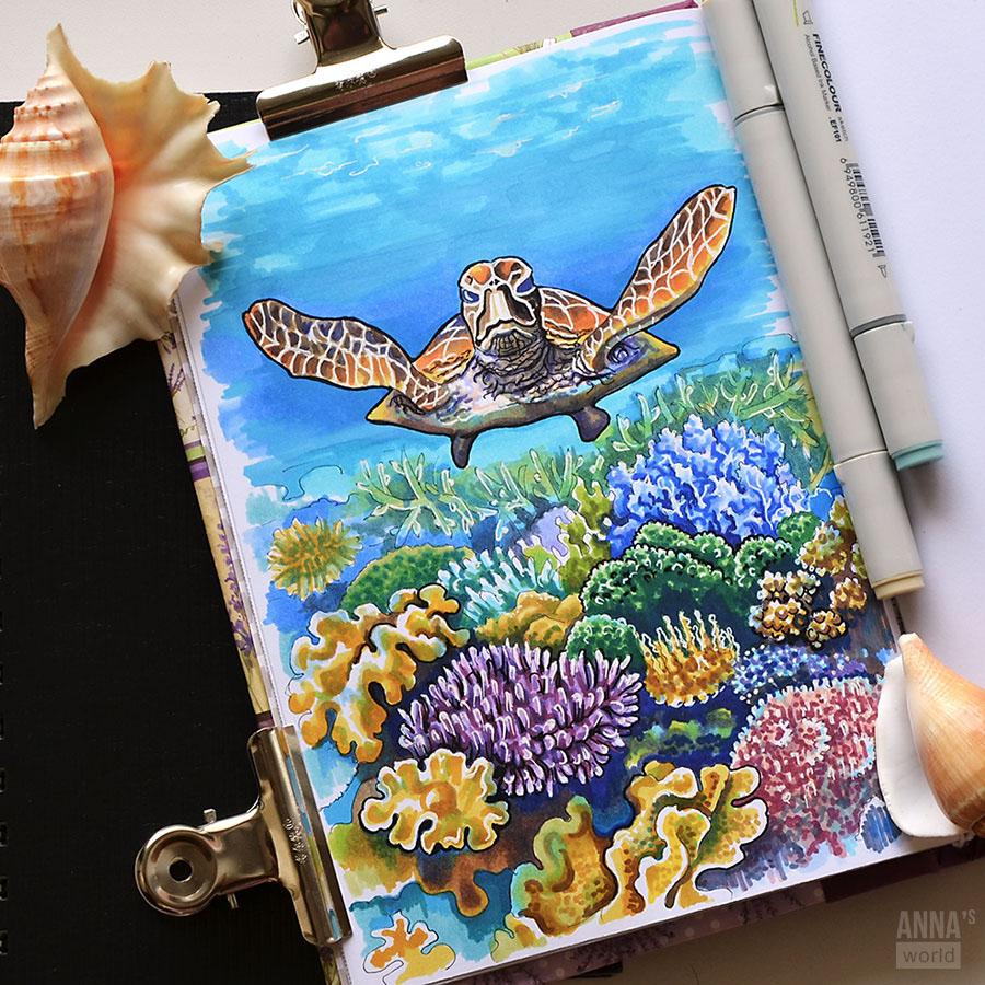 sea hand drawn illustration ILLUSTRATION  markers marker illustration lighthouse seashell Turtle underwater Marker Drawing