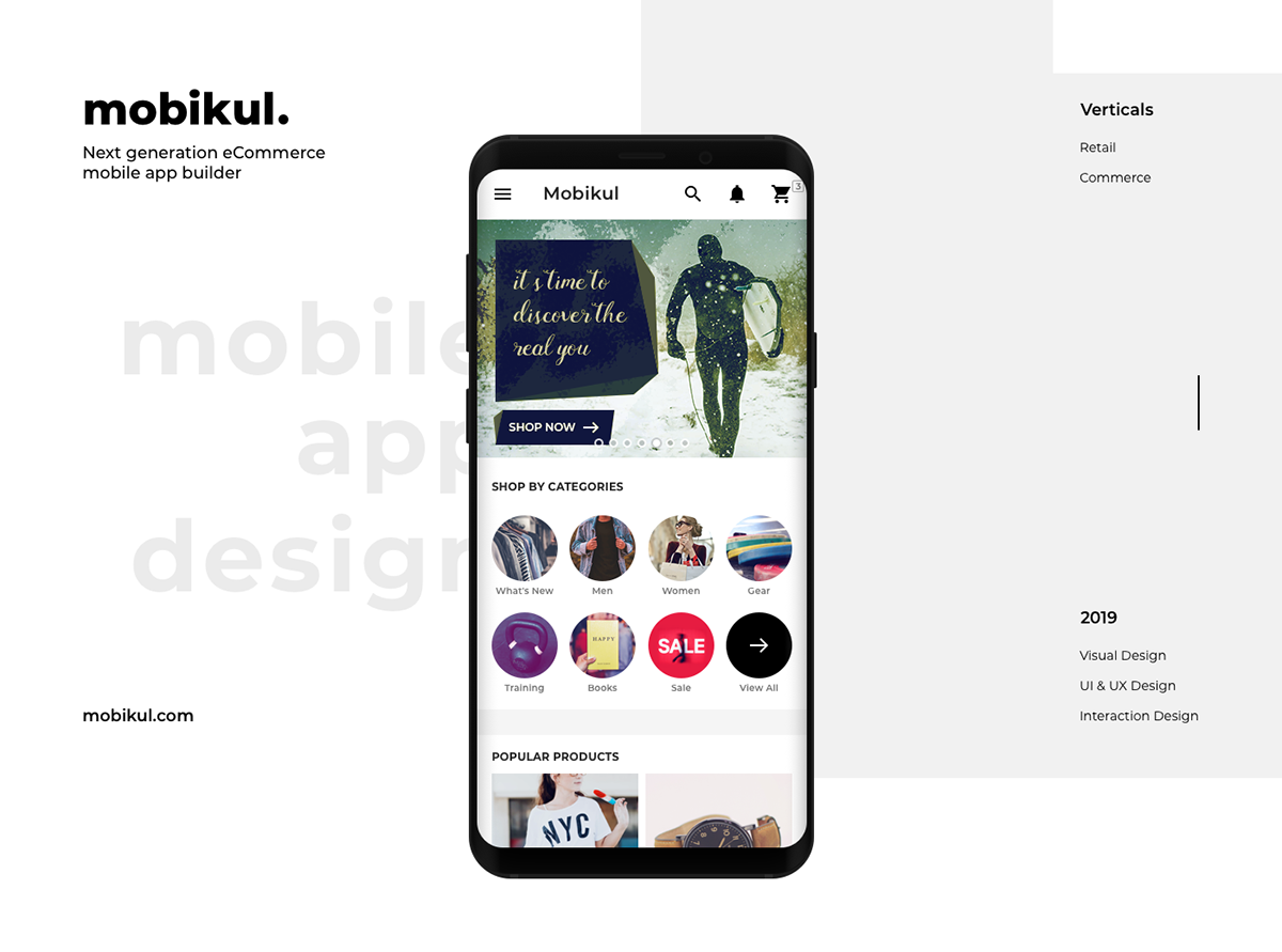 mobile app design for ecommerce app builder on student show