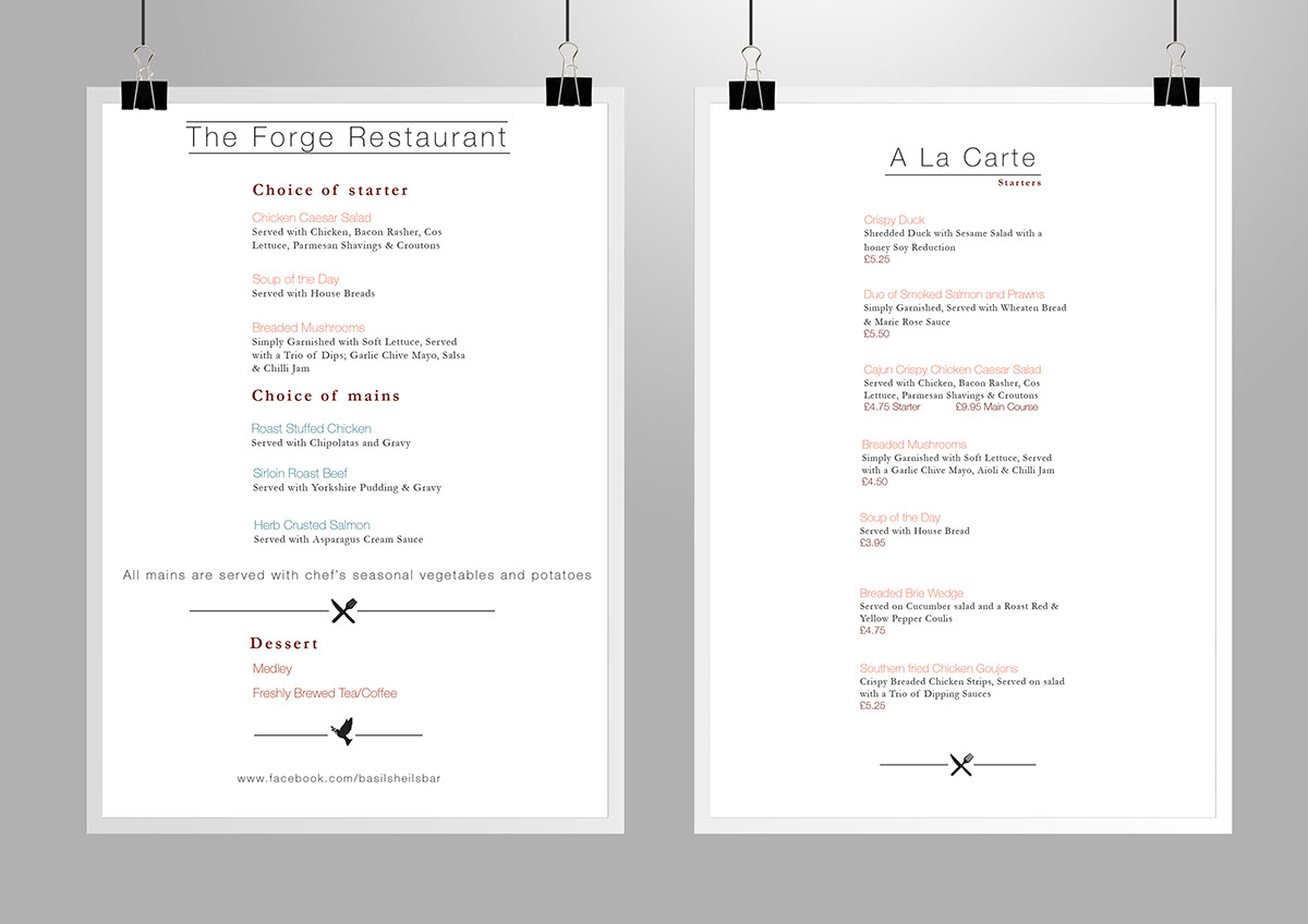 menu and promotion design for basil sheils bar lounge on student show
