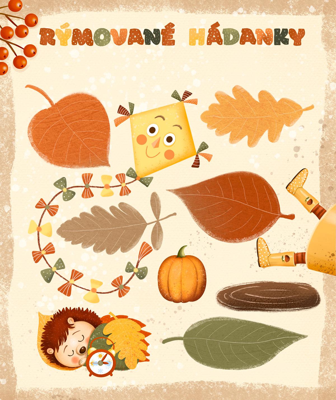 animals autumn children illustration hedgehod kids leaf Nature pumpkin