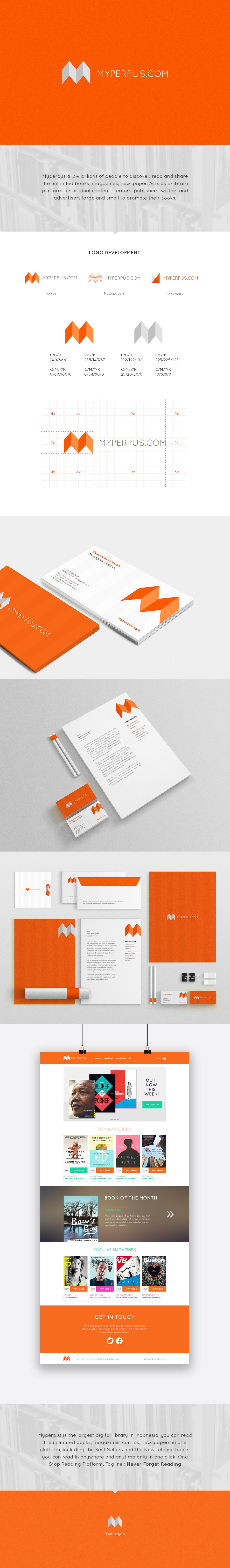 branding  design orange library digital book magazine publisher writer