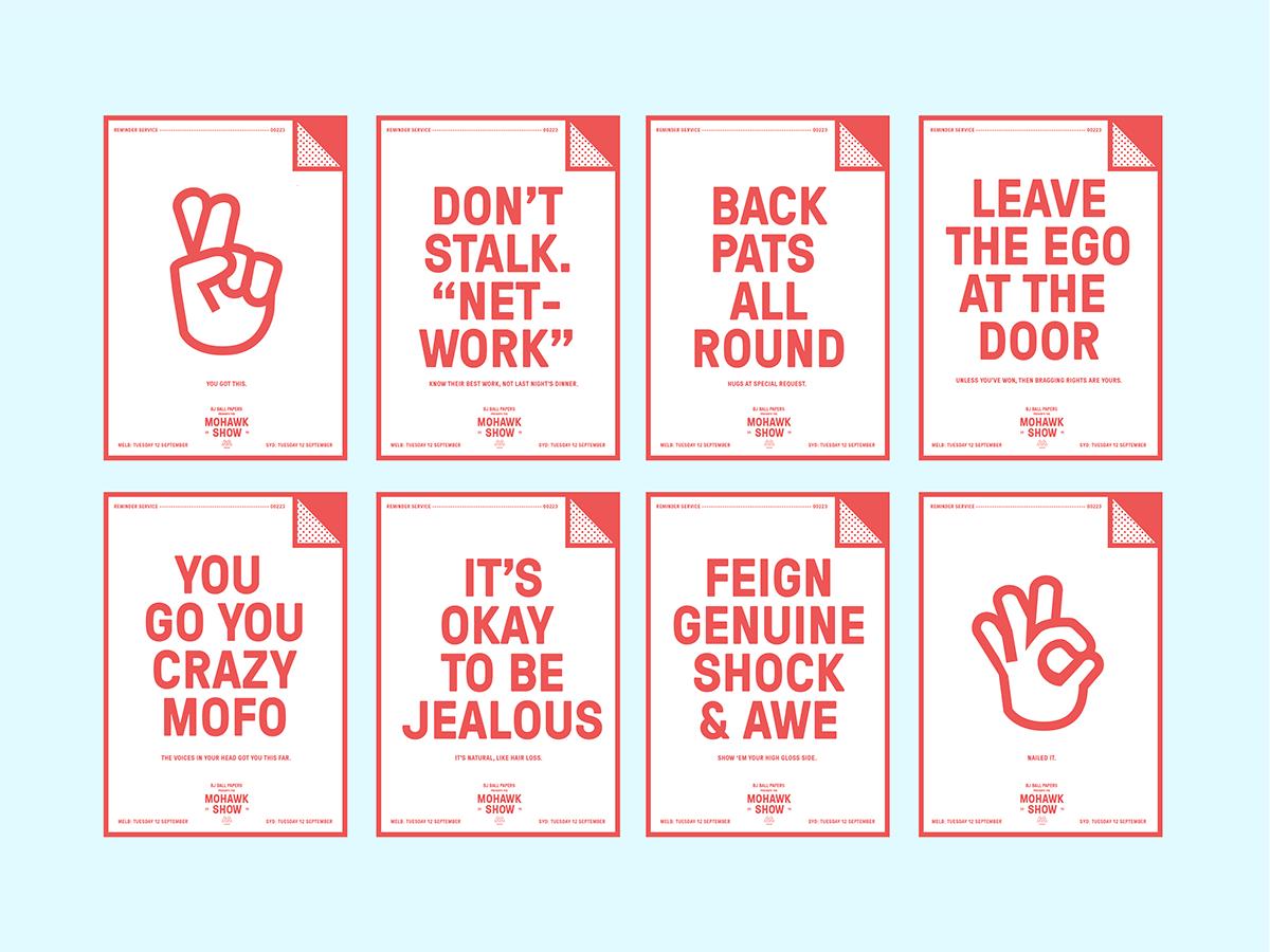 Awards reminder sydney paper mohawk Show Australia print corner fold fyi BTW copy Verbal red