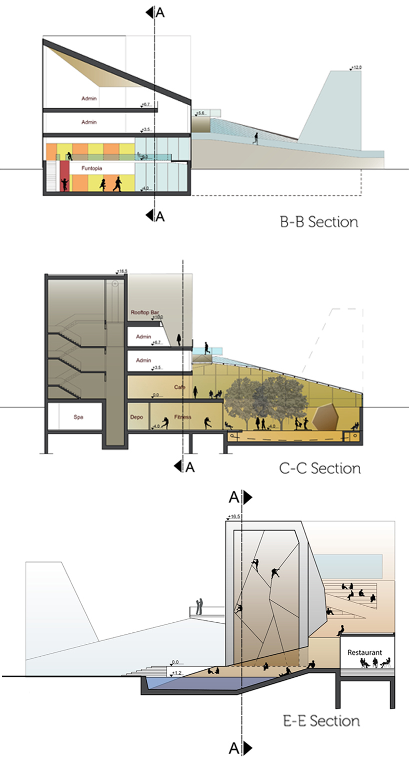 Collider Activity Center Architectural competition architectural design climbing