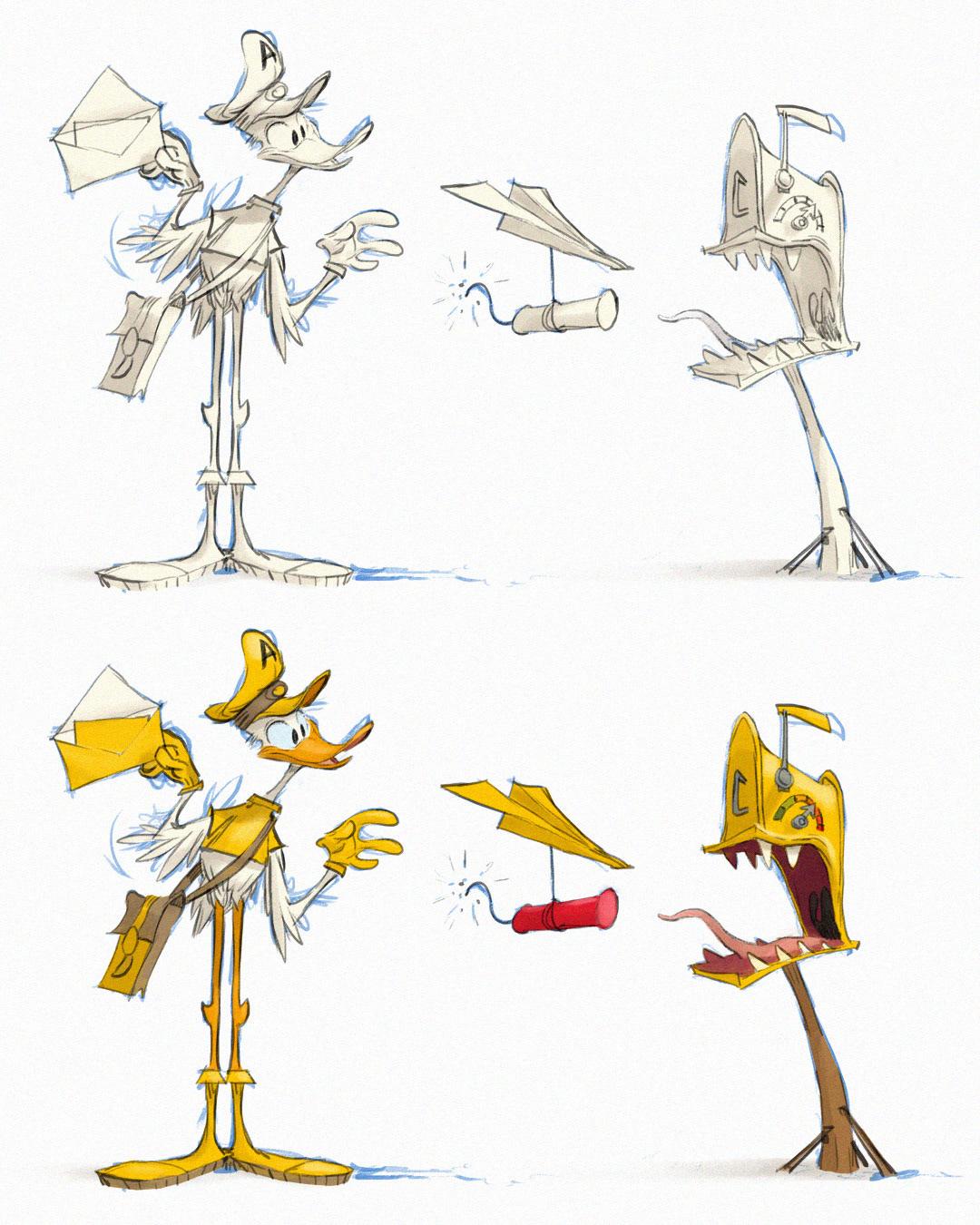 blue pencils cartoon duck drawing process florian satzinger paperwalker Rough Sketch step by step