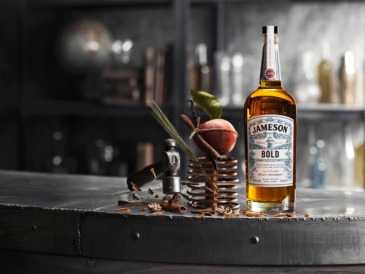 jameson Irish Whiskey bottle waves sea detail ship tentacles Label scroll pencil sketch bold hand drawn premium