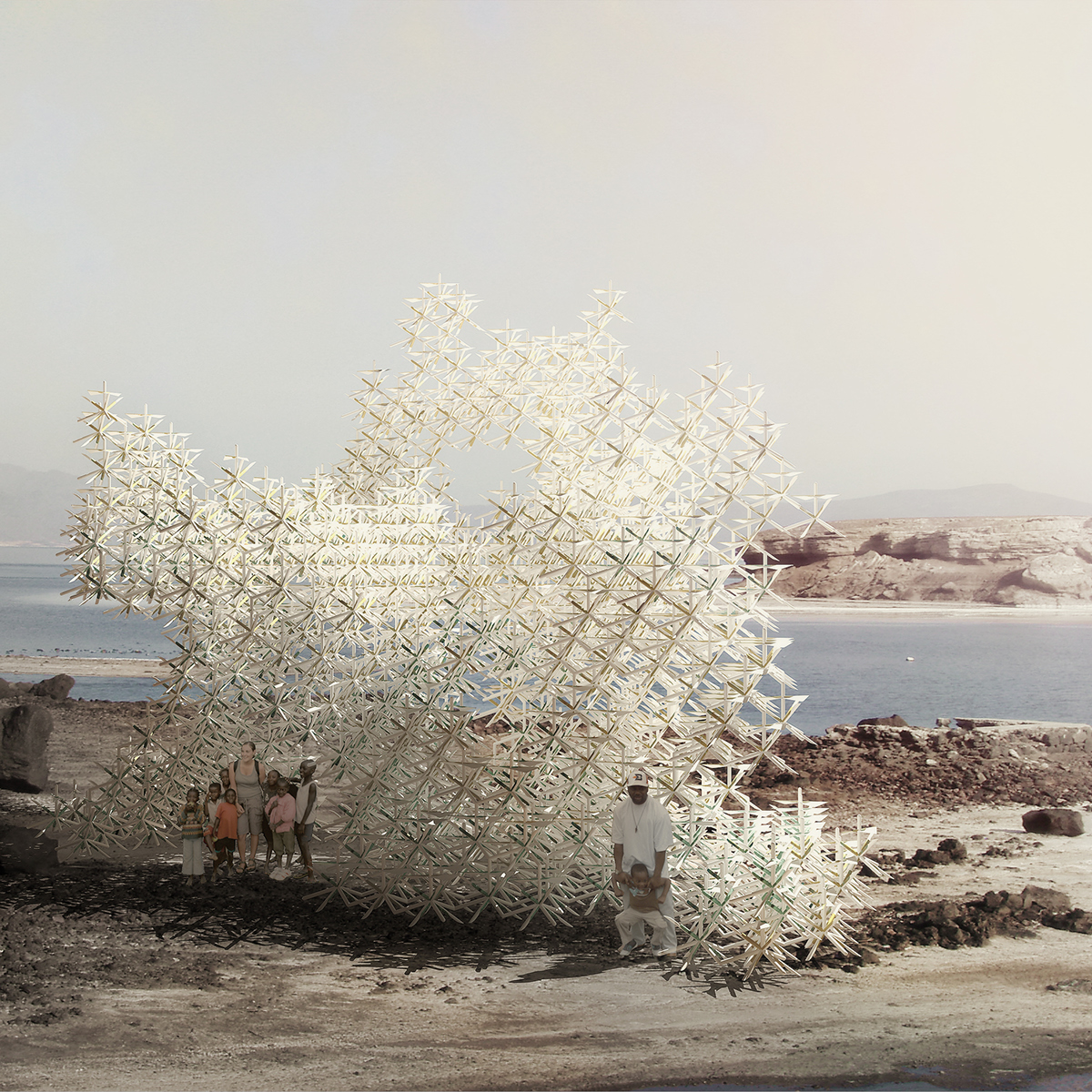 Adaptive energy processing scripting game stradegies wind lattice pavilion installation growth Ecology