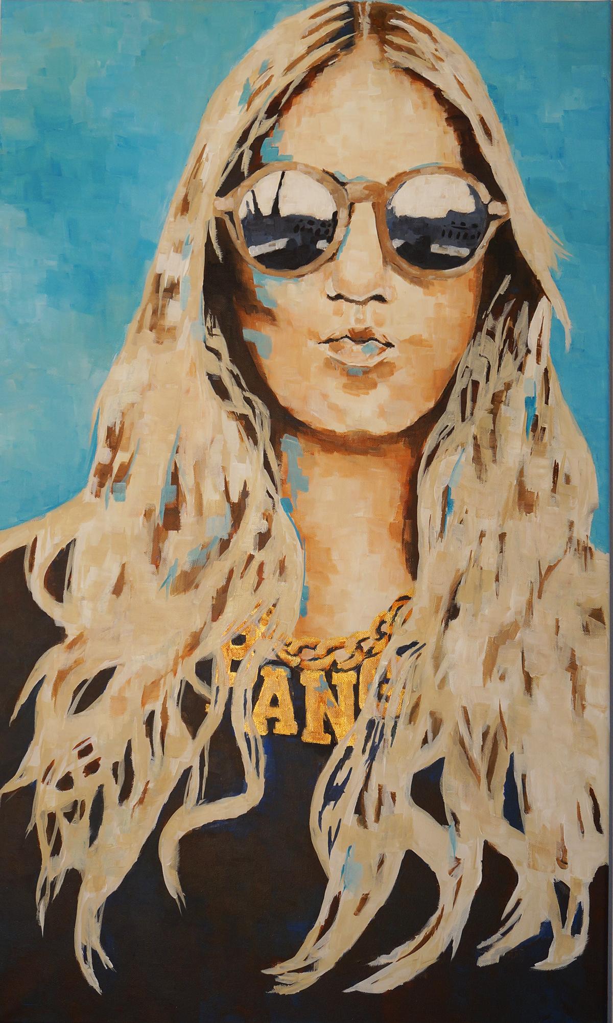 portrait girl BANG gold