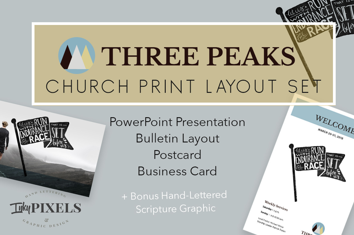 Three peaks church print layout set on behance i created a three peaks church print layout set available on creative market with a bulletin design business card postcard and sermon graphic slides reheart Gallery
