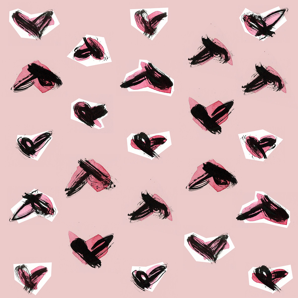 Fashion  ILLUSTRATION  hearts ink pink Packaging surface design Wrapping paper brand pattern Adobe Photoshop